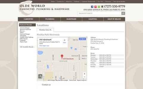 Screenshot of Contact Page Locations Page oldeworldcabinetry.com - Contact Olde World Cabinetry, Plumbing & Hardware in Florida - captured Jan. 22, 2016