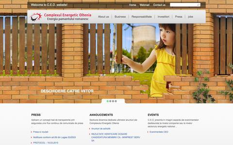 Screenshot of Home Page ceoltenia.ro - Complexul Energetic Oltenia - Energia pamantului romanesc - captured Sept. 19, 2015