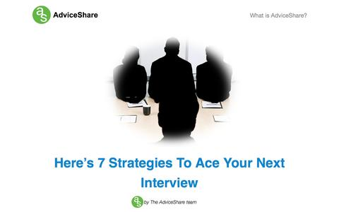Screenshot of Blog adviceshare.co - AdviceShare | Here's 7 Strategies To Ace Your Next Interview - captured Sept. 30, 2014