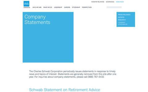 Company Statements | About Schwab