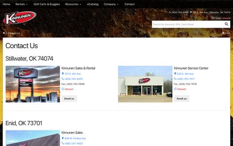 Screenshot of Contact Page Locations Page ksrsales.com - Contact Us - Kinnunen - captured Nov. 27, 2016