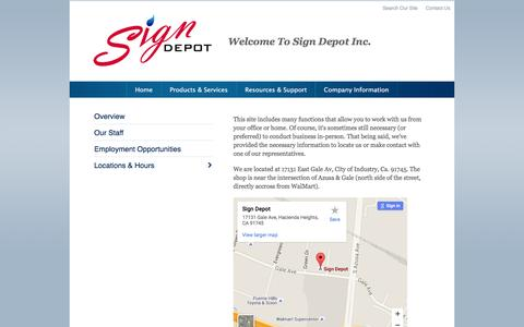 Screenshot of Locations Page signdepot.com - Location - Hours - Sign Depot - City of Industry, CA - captured Feb. 16, 2016