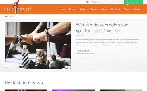 Screenshot of Blog sportsspeakers.nl - Nieuws | SportsSpeakers - captured Sept. 21, 2018