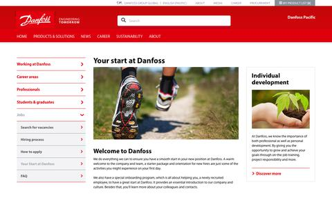 Screenshot of Jobs Page danfoss.com.au - Your start at Danfoss - captured Sept. 26, 2018