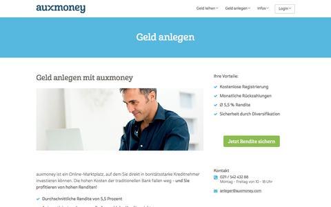 Geld anlegen | Ø 5,5% Rendite erzielen » AUXMONEY