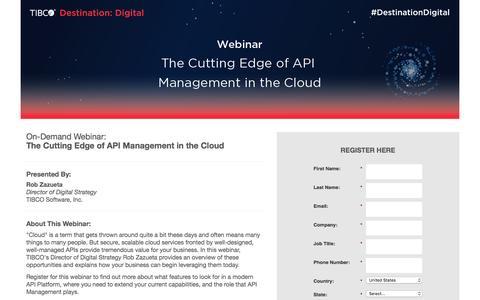 Screenshot of Landing Page tibco.com - Webinar: The Cutting Edge of API Management in the Cloud - captured Nov. 6, 2016