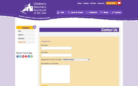 Screenshot of Contact Page cdm.org - Contact Us - Children's Discovery Museum of San Jose - captured Sept. 19, 2014