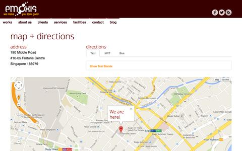 Screenshot of Maps & Directions Page emoxis.com - Contact | Map | emoxis - captured Sept. 30, 2014