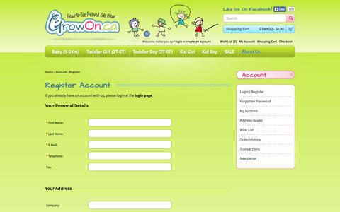 Screenshot of Signup Page growon.ca - Register Account - captured Oct. 3, 2014