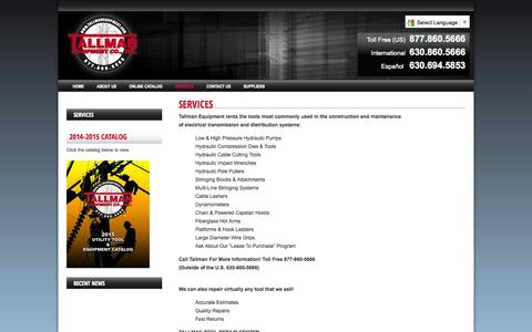 Screenshot of Services Page tallmanequipment.com - Services | Tallman Equipment Co., Inc. - captured Nov. 4, 2014