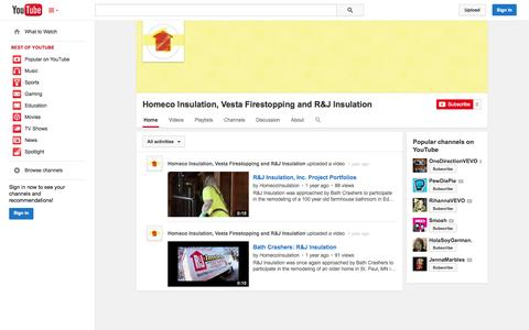 Screenshot of YouTube Page youtube.com - Homeco Insulation, Vesta Firestopping and R&J Insulation  - YouTube - captured Oct. 22, 2014