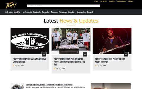 Screenshot of Press Page peavey.com - Peavey.com: News - captured Oct. 28, 2016