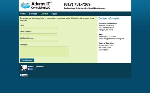 Screenshot of Contact Page adamsitconsulting.net - Adams IT Consulting - Contact - captured Oct. 4, 2014