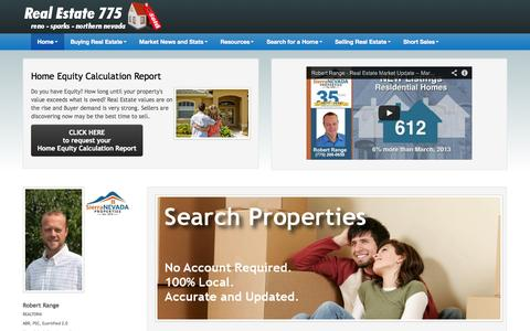 Screenshot of Home Page realestate775.com - Real Estate 775 by Robert Range | Reno Sparks Real Estate - Home - captured Oct. 9, 2014