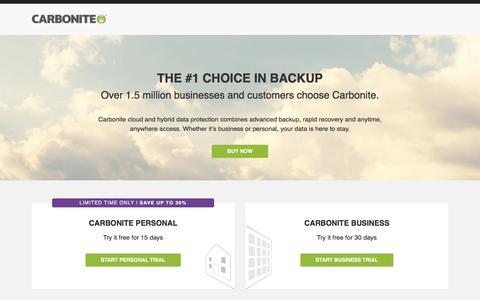 Screenshot of Landing Page carbonite.com - The #1 Choice in Cloud & Hybrid Backup | Carbonite - captured Dec. 10, 2015