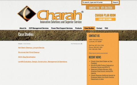 Screenshot of Case Studies Page charah.com - Case Studies - captured Oct. 2, 2014