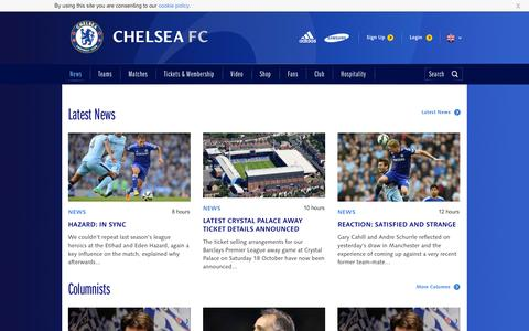 Screenshot of Press Page chelseafc.com - News - captured Sept. 18, 2014