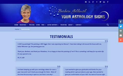 Screenshot of Testimonials Page yourastrologysigns.com - Testimonials | Your Astrology Signs - captured Nov. 8, 2018