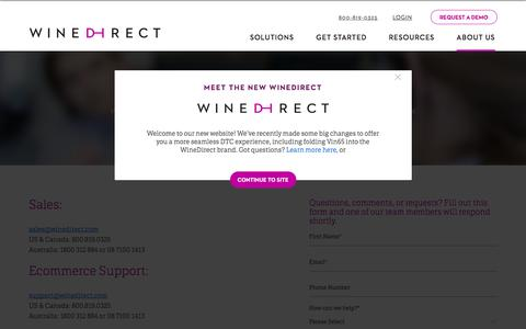 Screenshot of Contact Page winedirect.com - Contact Us | WineDirect - captured Sept. 20, 2018