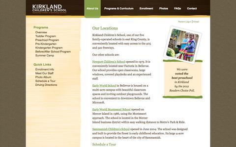 Screenshot of Locations Page kirklandschool.com - Our Locations | Kirkland Children's School - captured Oct. 6, 2014