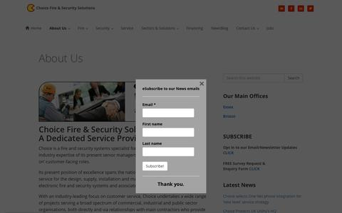 Screenshot of About Page choicefireandsecurity.co.uk - About Us - Choice Fire & Security Solutions - captured July 13, 2016