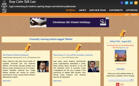 Screenshot of Press Page keepcalmtalklaw.co.uk - Articles Tagged 'Media' - Keep Calm Talk Law - captured Sept. 30, 2014