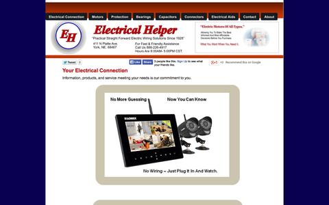 Screenshot of Home Page electricalhelper.com - Your Electrical Connection - captured Sept. 23, 2014