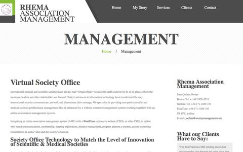 Screenshot of Team Page societymanagement.com - Management – Rhema Association Management - captured Sept. 27, 2016
