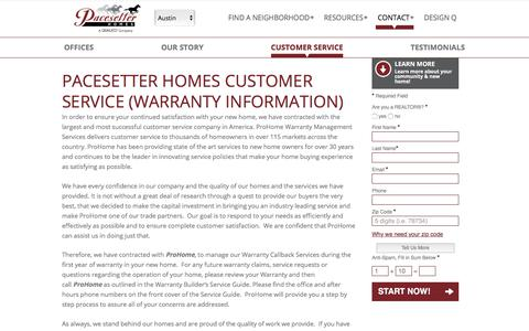 Screenshot of Support Page pacesetterhomestexas.com - Pacesetter Homes Customer Service - captured Sept. 26, 2018
