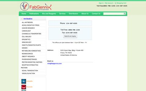 Screenshot of Contact Page fabgennix.com - contact us-FabGennix Inc. - captured Oct. 5, 2014