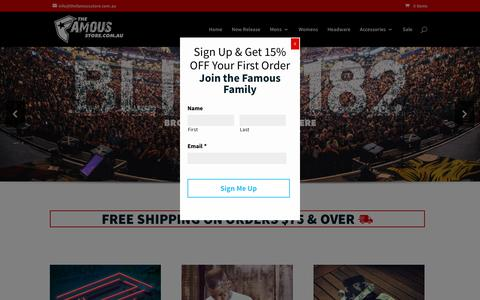 Screenshot of Home Page thefamousstore.com.au - The Famous Store - Famous Stars and Straps Australia - captured Dec. 15, 2016