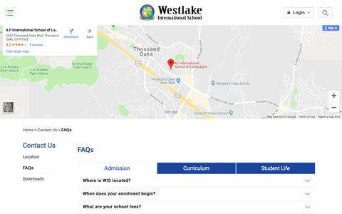 Screenshot of FAQ Page westlakeschool.edu.my - FAQs » Westlake International School - captured Oct. 30, 2018