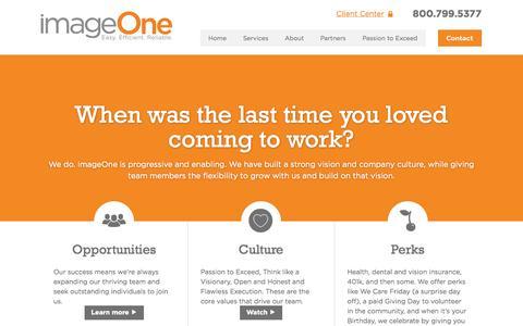 Screenshot of Jobs Page imageoneway.com - Careers - imageOne - captured Oct. 3, 2014
