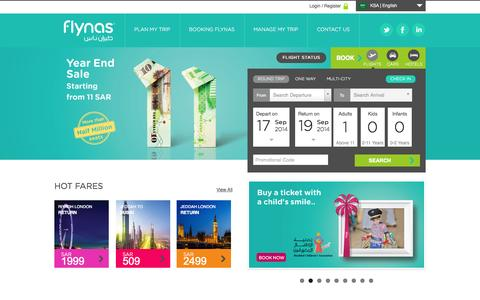 Screenshot of Home Page flynas.com - flynas | Modern low cost Saudi airline offering cheap flights - captured Sept. 18, 2014