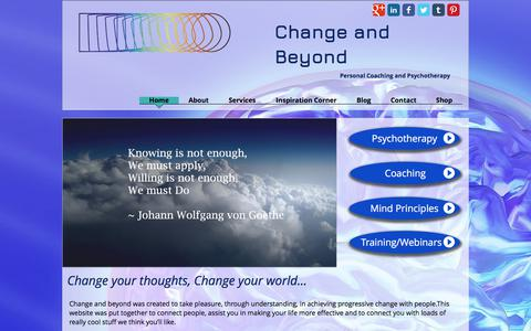 Screenshot of Home Page changeandbeyond.com - Personal Coaching and Psychotherapy - captured July 24, 2017