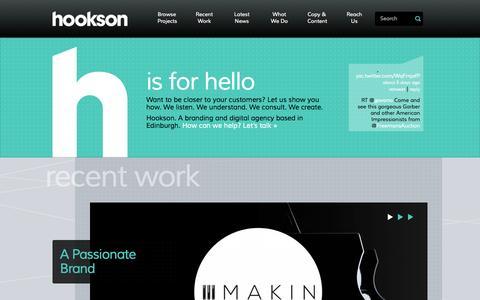 Screenshot of Home Page hookson.com - Branding, Creative and Digital Agency   Edinburgh   Scotland - captured Sept. 30, 2014