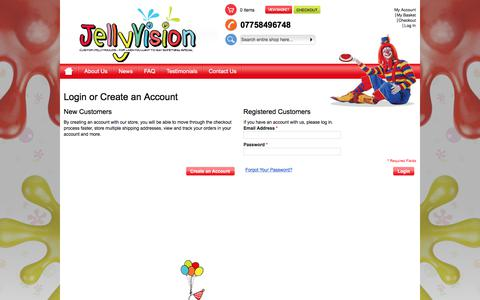 Screenshot of Login Page jellyvision.co.uk - Customer Login - captured June 8, 2017
