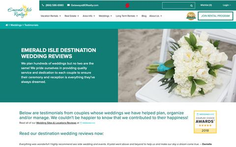 Screenshot of Testimonials Page emeraldislerealty.com - Destination Wedding Testimonials - Emerald Isle, NC - captured Sept. 28, 2018