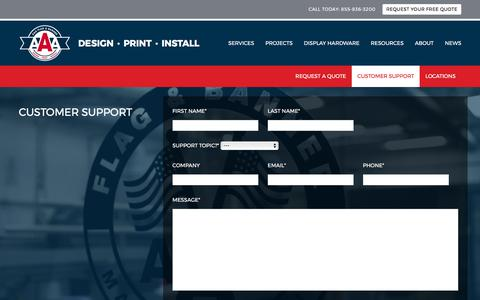 Screenshot of Support Page aaaflag.com - Customer Support - AAA Flag and Banner - captured Oct. 6, 2017