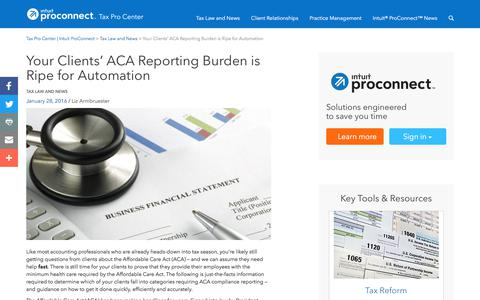 Screenshot of Press Page intuit.com - Your Clients' ACA Reporting Burden is Ripe for Automation | Tax Pro Center | Intuit ProConnect - captured Nov. 21, 2019