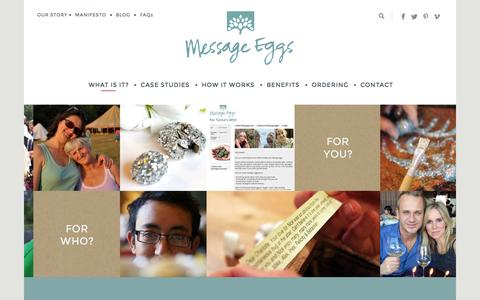 Screenshot of Home Page message-eggs.com - Home - Message Eggs - captured Sept. 19, 2015