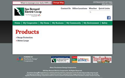 Screenshot of Products Page sbec.org - Products | San Bernard Electric Cooperative - captured Oct. 1, 2018