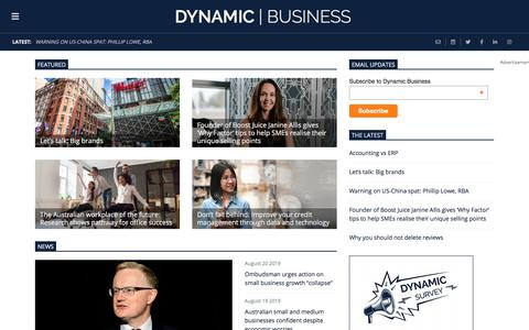 Screenshot of Home Page dynamicbusiness.com.au - Dynamic Business - Dynamic Business - Business expertise, news and inspiration for Australian small businesses and entrepreneursDynamic Business - captured Aug. 21, 2019