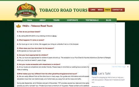 Screenshot of FAQ Page tobaccoroadtours.com - FAQ's - Tobacco Road Tours   Tobacco Road Tours - captured Feb. 16, 2016