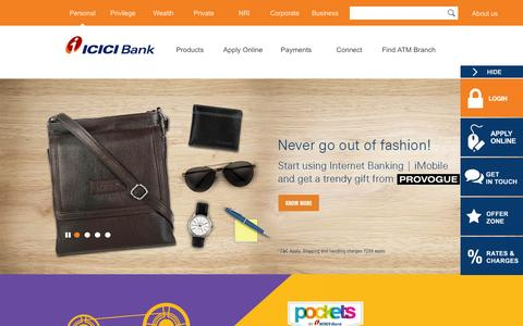 Screenshot of Home Page icicibank.com - Personal Banking, Online Banking Services - ICICI Bank - captured Feb. 21, 2016