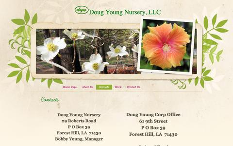 Screenshot of Services Page dougyoungnursery.com - Contacts - captured June 24, 2016