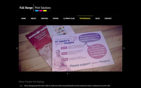 Screenshot of Testimonials Page fullrangeprintsolutions.co.uk - Testimonials - captured Oct. 6, 2014