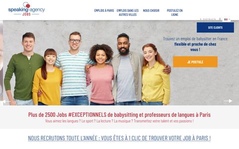 Screenshot of Jobs Page speaking-agency.com - Emploi Bilingue à Paris | Speaking-Agency Jobs - captured Sept. 23, 2018