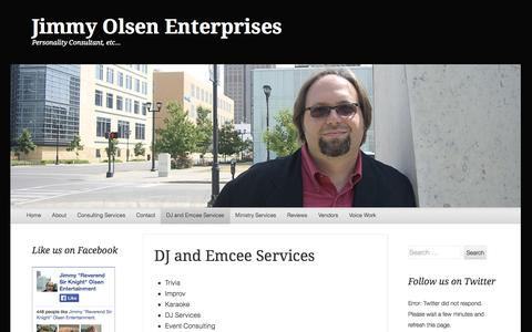 Screenshot of Services Page wordpress.com - DJ and Emcee Services | Jimmy Olsen Enterprises - captured Oct. 26, 2014