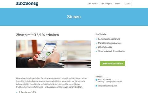 Zinsen von Ø 5,5% | AUXMONEY